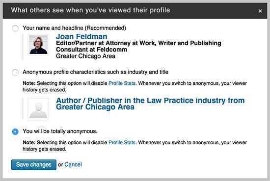 LinkedIn Anonymous Setting linkedIn profile tips