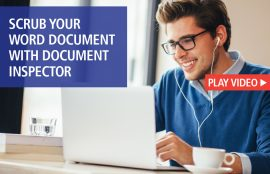 Man at Laptop Scrubbing Word Doc with document Inspector