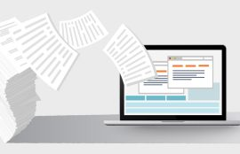 Documents flying off computer screen Paperless Law office