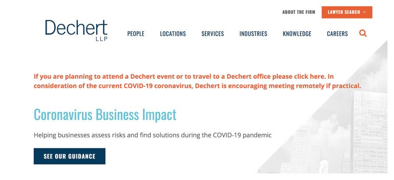 An example of a clear posting on Dechert LLP's homepage.