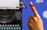 type writer hand with ribbon brief writing