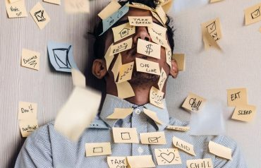 lawyer with post it notes on face anxiety disorder