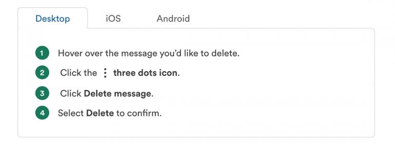 how to delete a message in slack