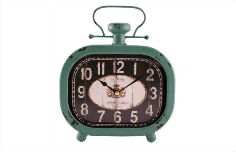 metal teal clock
