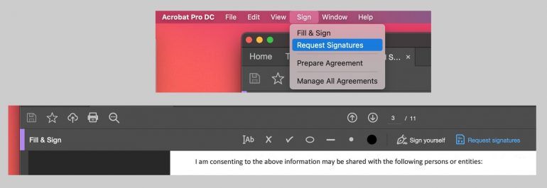 Adobe Acrobat DC menu