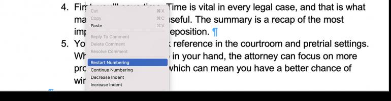 multilevel paragraph numbering restart