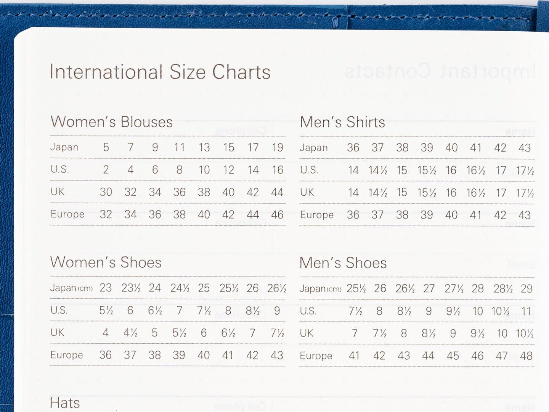 international size charts